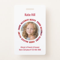 Kids Personalized Photo Food Allergy Medical Alert Badge