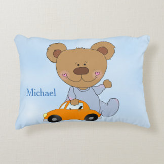Kid's Personalized Pillow Teddy Bear Toy Car