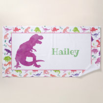 Kids Personalized Pink Dinosaur Watercolor T-Rex Beach Towel