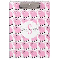 Kids Personalized Pink Pig Pattern Cute Pink Clipboard