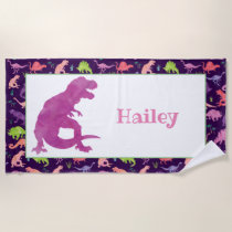 Kids Personalized Purple Dinosaur Watercolor T-Rex Beach Towel