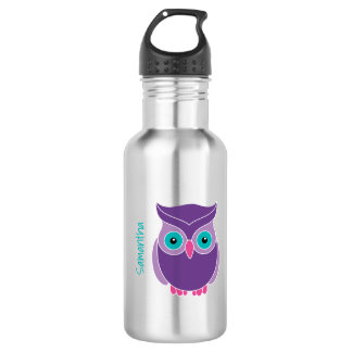 Kids Personalized Purple Teal Cute Owl Stainless Steel Water Bottle