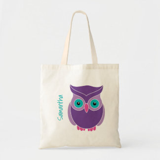 Kids Personalized Purple Teal Cute Owl Tote Bag