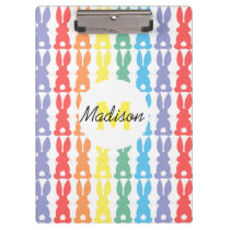 Kids Personalized Rainbow Bunny Silhouette Cute Clipboard
