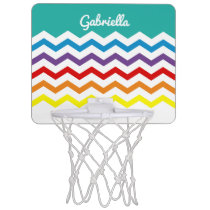 Kids Personalized Rainbow Chevron Colorful Pretty Mini Basketball Hoop