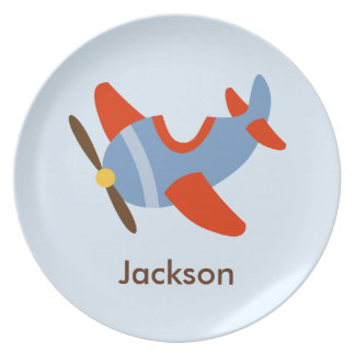 Kids Personalized Red Blue Airplane Dinner Plate