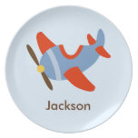 Kids Personalized Red Blue Airplane Plates
