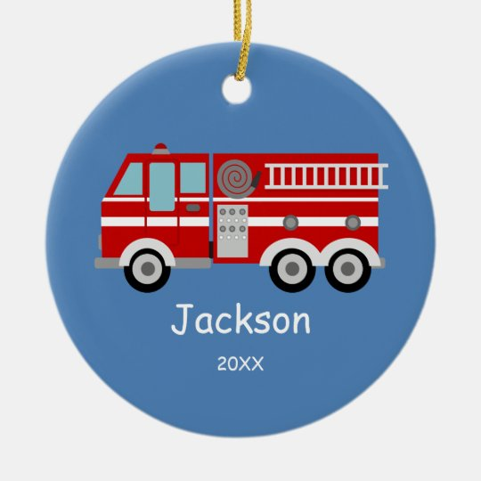 Kids Personalized Red Fire Truck Christmas Ceramic Ornament