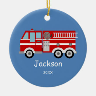 Kids Personalized Red Fire Truck Christmas Double-Sided Ceramic Round Christmas Ornament