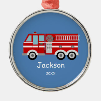 Kids Personalized Red Fire Truck Christmas Round Metal Christmas Ornament