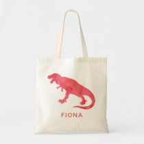 Kids Personalized Red Watercolor Dinosaur T-Rex Tote Bag