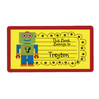 Kids Personalized Robot Book Sticker Shipping Label