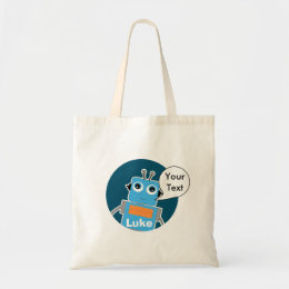 Kids Personalized Robot Budget Tote Bag