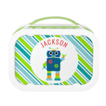 Kids Personalized Robot Striped Cute Lunch Box