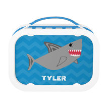 Kids Personalized Shark Blue Chevron Lunch Box Boy