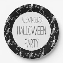 Kids Personalized Skeleton Pattern Halloween Party Paper Plate
