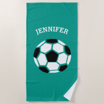 Kids Personalized Soccer Ball Green Sports Beach Towel