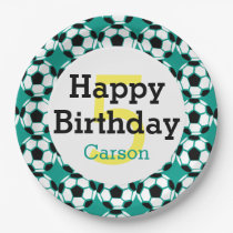 Kids Personalized Soccer Ball Happy Birthday Sport Paper Plate