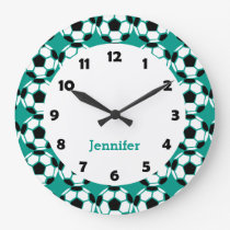 Kids Personalized Soccer Ball Pattern Sports Large Clock