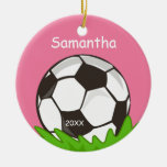 Kids Personalized Soccer Ball Pink Ceramic Ornament