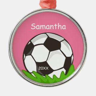Kids Personalized Soccer Ball Pink Metal Ornament