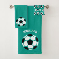 Kids Personalized Soccer Ball Sports Green Bath Towel Set