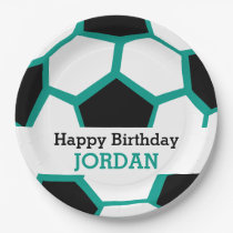 Kids Personalized Soccer Happy Birthday Sports Paper Plate
