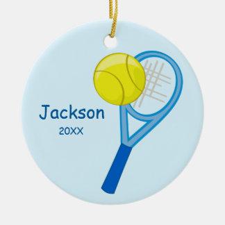 Kids Personalized Tennis Keepsake Ceramic Ornament