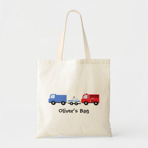 Kids Personalized Transport Vehicles Tote Bag