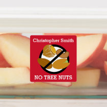 Kids Personalized Tree Nut Allergy Symbol No Nuts Labels