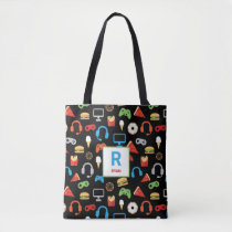 Kids Personalized Video Game Pattern Gamer Tote Bag