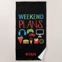 Kids Personalized Video Game Weekend Plans Gamer Beach Towel