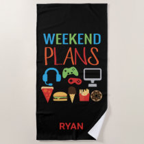 Kids Personalized Video Game Weekend Plans Gamer Beach Towel