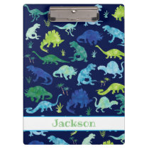 Kids Personalized Watercolor Dinosaur Blue Green Clipboard