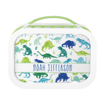 Kids Personalized Watercolor Dinosaur Green Boys Lunch Box