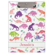Kids Personalized Watercolor Dinosaur Purple Pink Clipboard