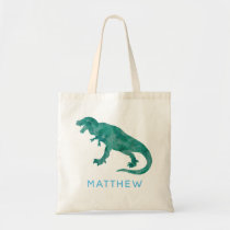Kids Personalized Watercolor Dinosaur T-Rex Tote Bag