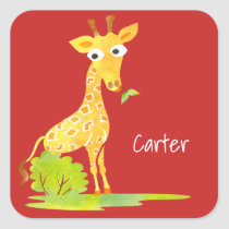 Kids Personalized Watercolor Giraffe Red Square Sticker