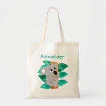 Kids Personalized Watercolor Koala Bear Animal Tote Bag