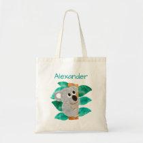 Kids Personalized Watercolor Koala Bear Animal Tote Bag