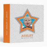 KIDS PHOTO gray chevron pattern star frame orange 3 Ring Binders