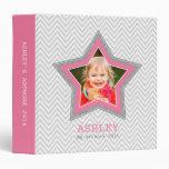 KIDS PHOTO gray chevron pattern star frame pink Vinyl Binder