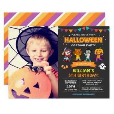 Halloween Themed Kids Photo Halloween Birthday Costume Party Invite