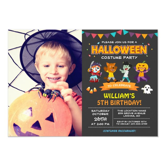 Kids Photo Halloween Birthday Costume Party Invite (back side)