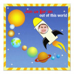 """Kids Photo Outerspace Rocket Birthday Party Invite 5.25"""" Square Invitation Card"""