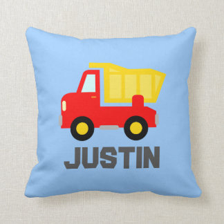 Kids pillow with toy truck and personalized name