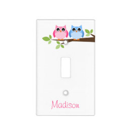 Kids Pink and Blue Owl Personalized Light Switch Cover