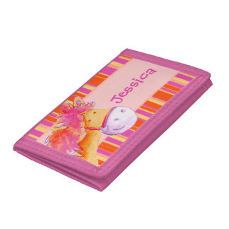 Kids Pink and orange pony /horse add your name Tri-fold Wallets