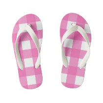 Kids Pink and White Buffalo Check Flip Flops