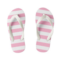 Kids Pink and White Striped Flip Flops